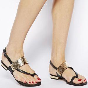Aldo Black metal gold sling back sandals. Sz.8